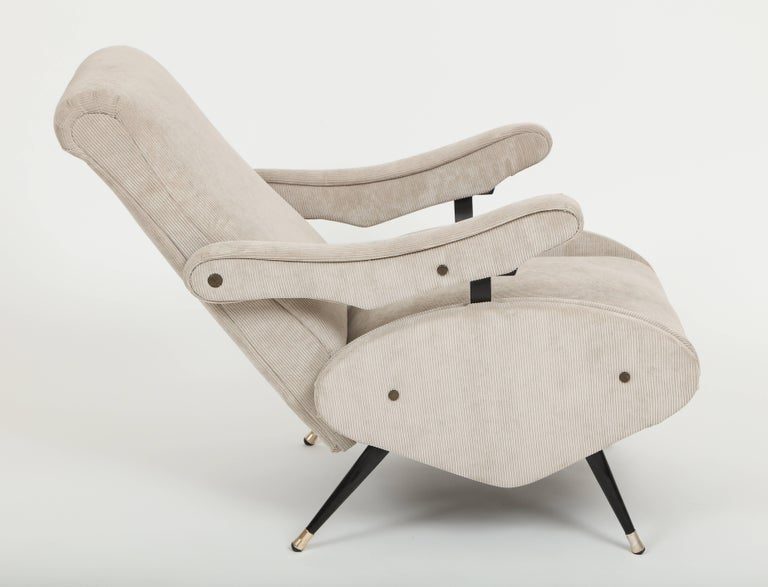 Mid-20th Century Marco Zanuso Style Grey Velvet Corduroy Lounge Chair Midcentury, Italian, 1960 For Sale
