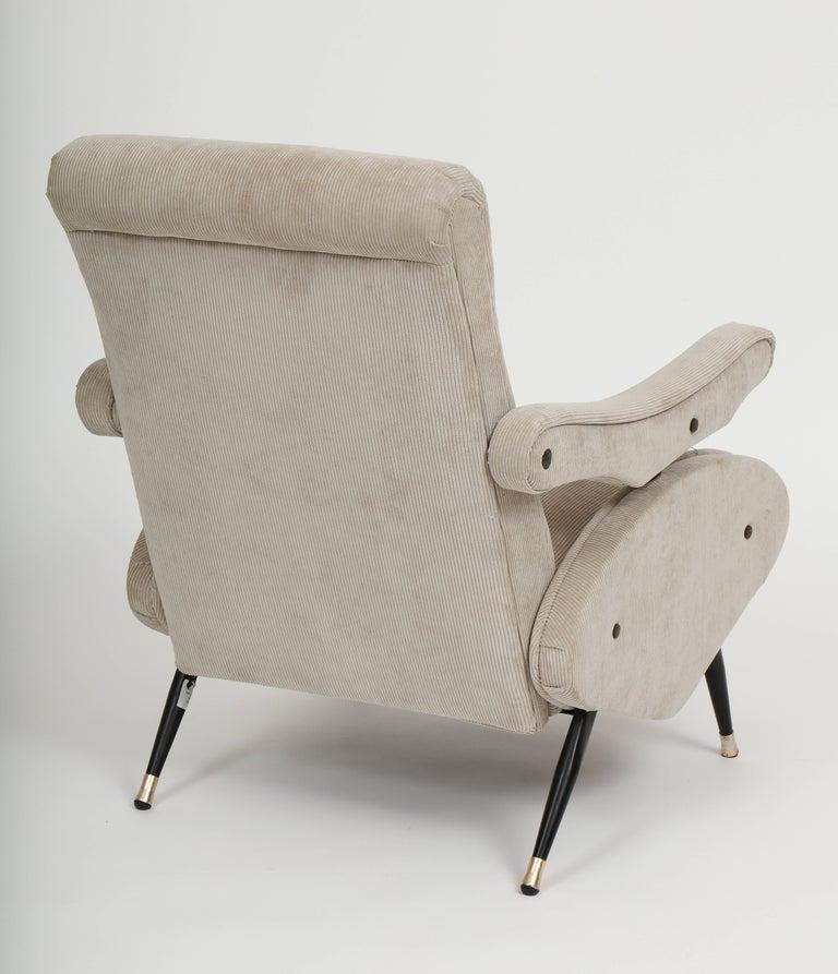 Metal Marco Zanuso Style Grey Velvet Corduroy Lounge Chair Midcentury, Italian, 1960 For Sale