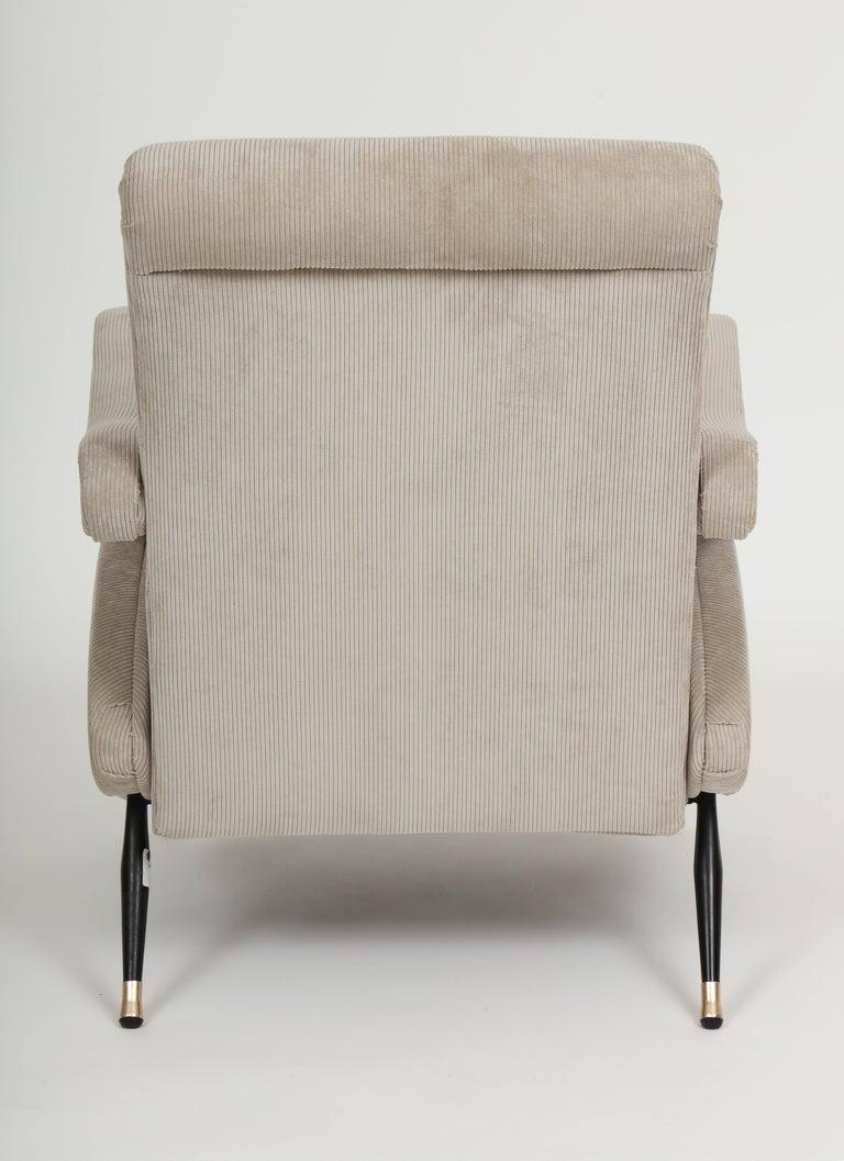 Marco Zanuso Style Grey Velvet Corduroy Lounge Chair Midcentury, Italian, 1960 For Sale 1
