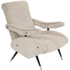 Marco Zanuso Style Grey Velvet Corduroy Lounge Chair Midcentury, Italian, 1960