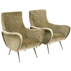 Marco Zanuso Style Italian Lady's Armchairs