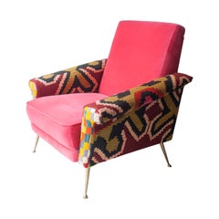 Marco Zanuso Style Midcentury Cotton Wool Brass Raspberry Armchair, Italy, 1950