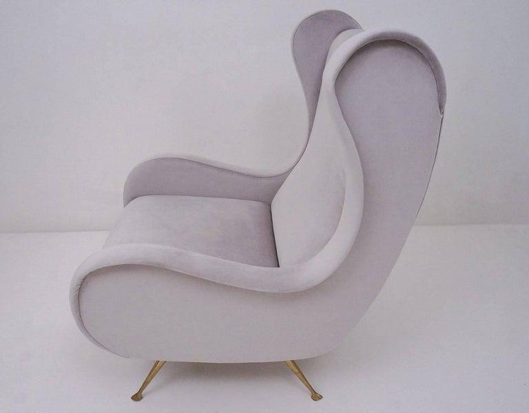 Marco Zanuso Style Senior Armchair, Available in 25 Colors of Velvet, Italian For Sale 5