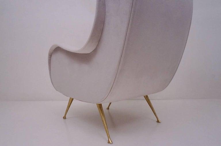 Marco Zanuso Style Senior Armchair, Available in 25 Colors of Velvet, Italian For Sale 6