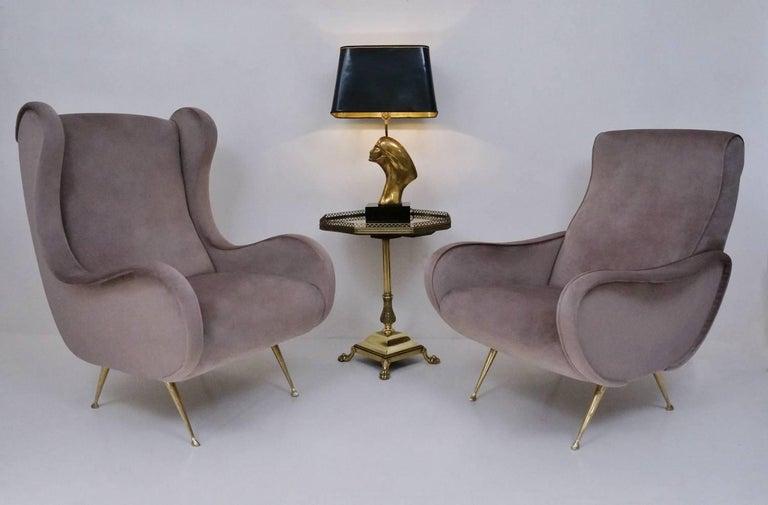 Marco Zanuso Style Senior Armchair, Available in 25 Colors of Velvet, Italian For Sale 8