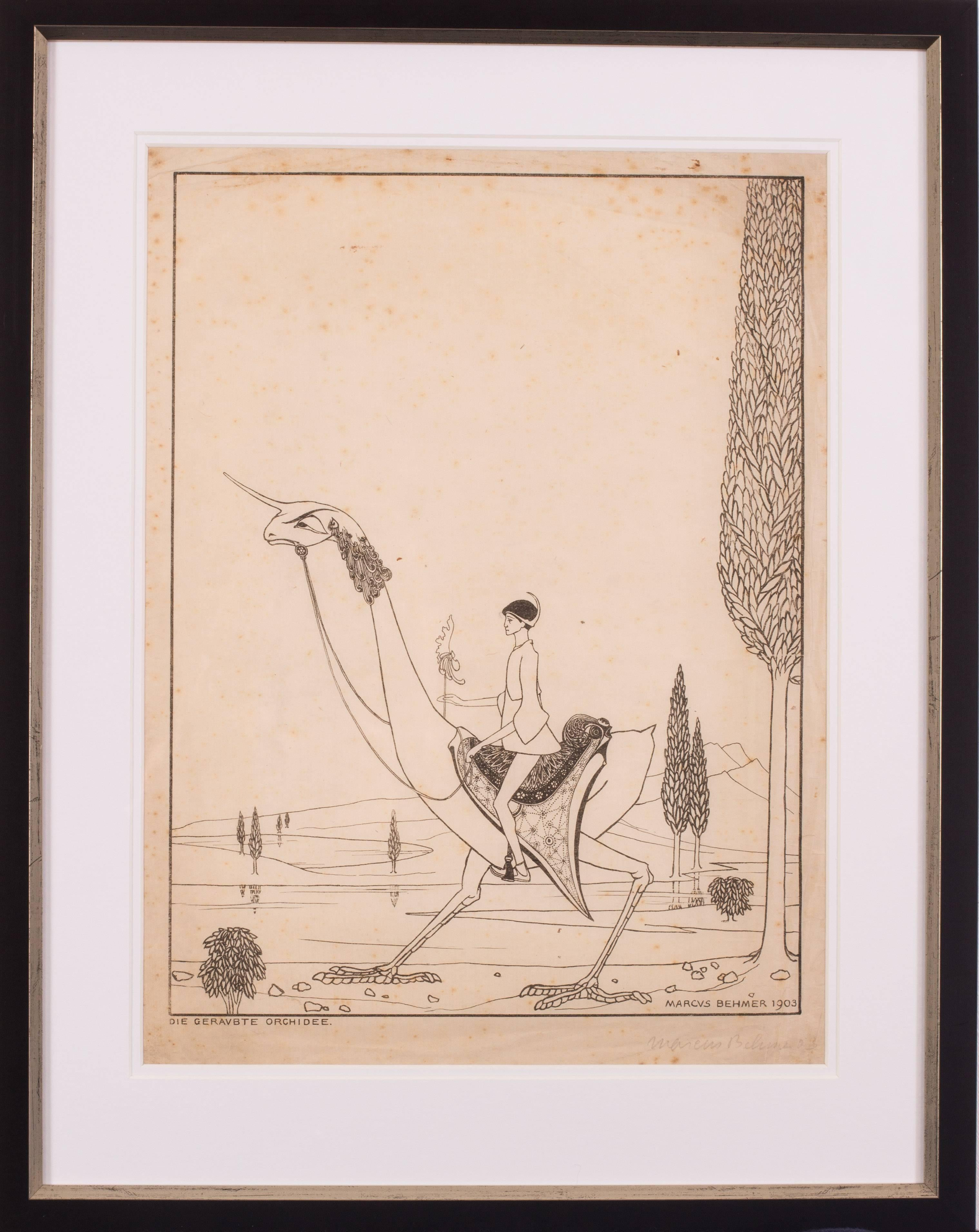 Original early 20th Century German signed lithograph by Marcus Behmer