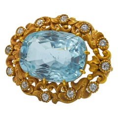 Marcus & Co Aquamarine and Diamond Yellow Gold Brooch