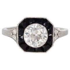 Marcus & Co. Art Deco Diamond and Calibre Onyx Ring in Platinum