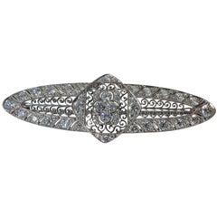 Marcus & Co. Art Deco Diamond Platinum Filigree Brooch
