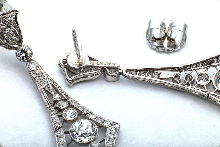 Edwardian Marcus & Co. Art Deco Diamond Platinum Pendant Earrings For Sale
