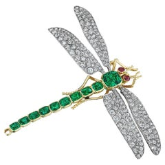 Marcus & Co. Art Deco Natural Emerald Diamond Ruby Gold Dragonfly Brooch