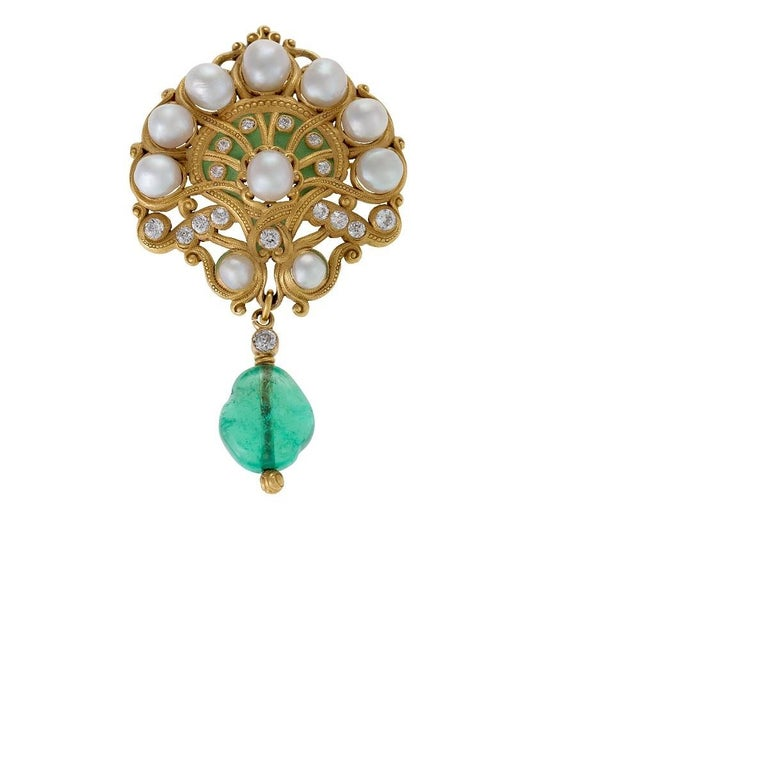 Women's Marcus & Co. Art Nouveau Pearl, Diamond and Emerald Brooch For Sale