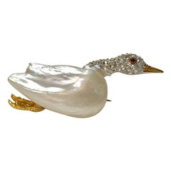 Marcus & Co. circa 1915 Natural Pearl, Ruby and Diamond Goose Pin in Gold