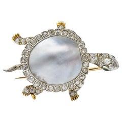 Marcus & Co. Edwardian Diamond Blister Pearl Demantoid Platinum Gold Turtle Pin