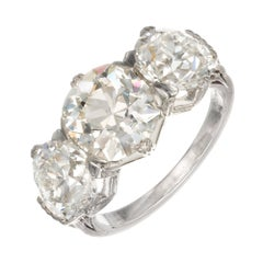 Marcus & Co. GIA 6.35 Carat Diamond Platinum Three-Stone Engagement Ring