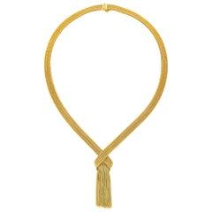 Marcus & Co. Gold Mesh Fringe Necklace