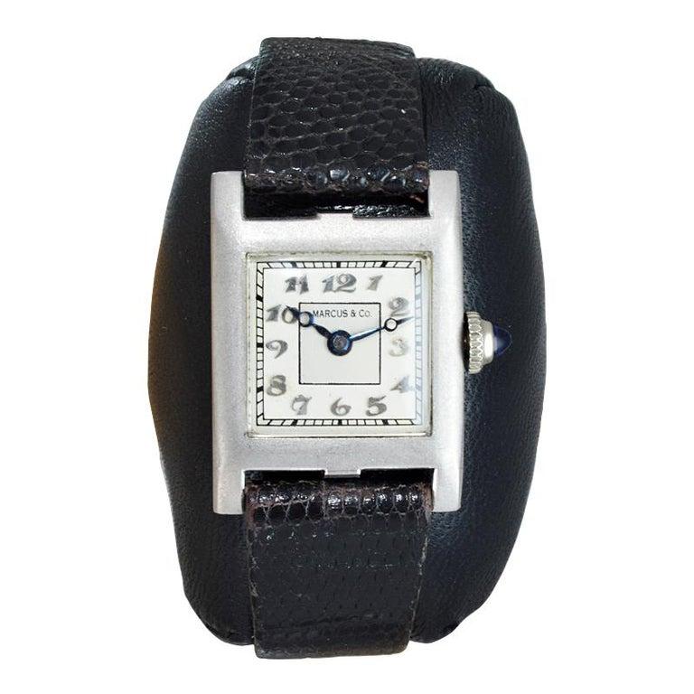 Art Deco Marcus & Co. Ladies Platinum Dress Style Watch circa 1930s Handmade For Sale