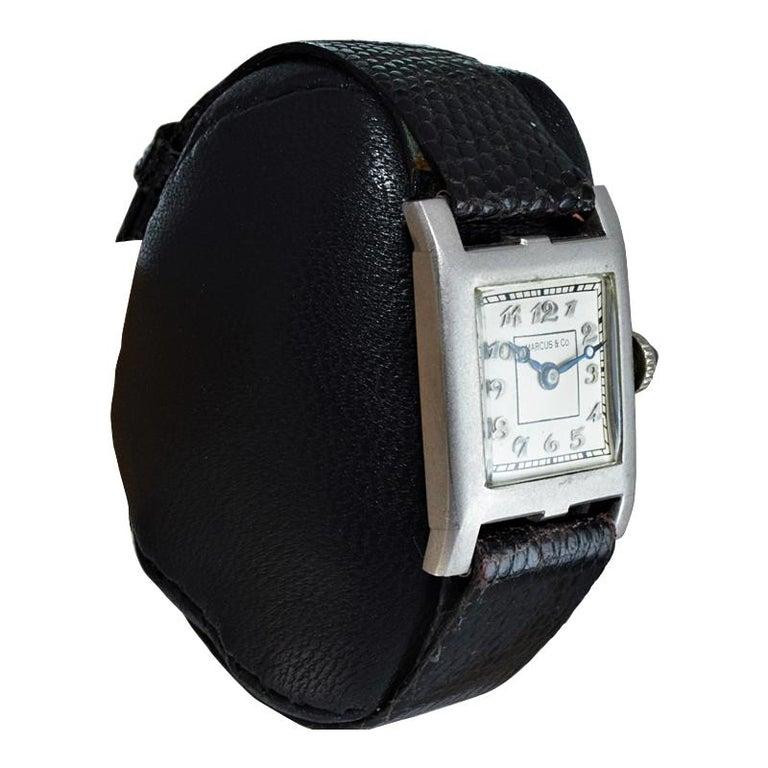 Marcus & Co. Ladies Platinum Dress Style Watch circa 1930s Handmade For Sale 1