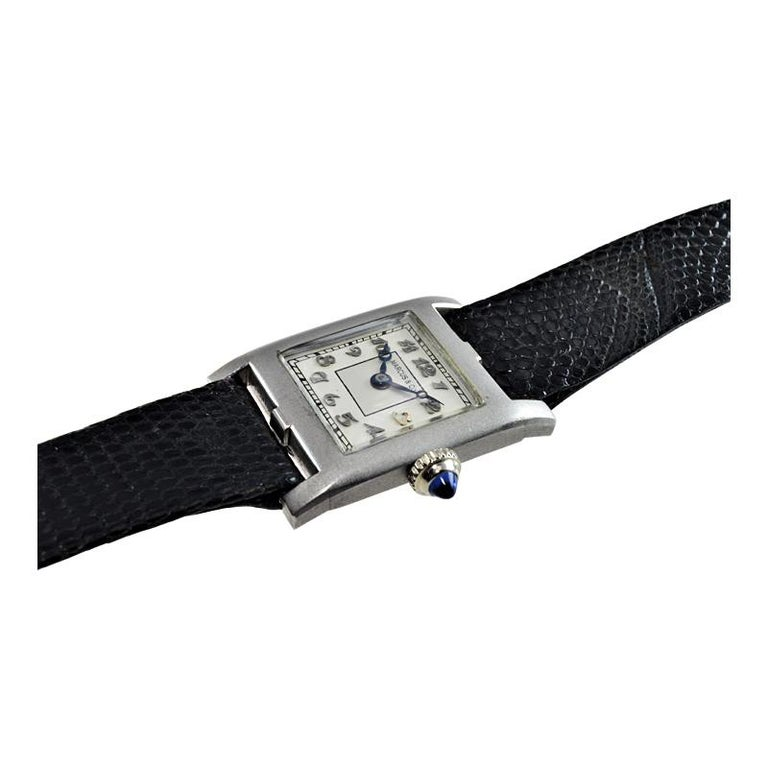 Marcus & Co. Ladies Platinum Dress Style Watch circa 1930s Handmade For Sale 2