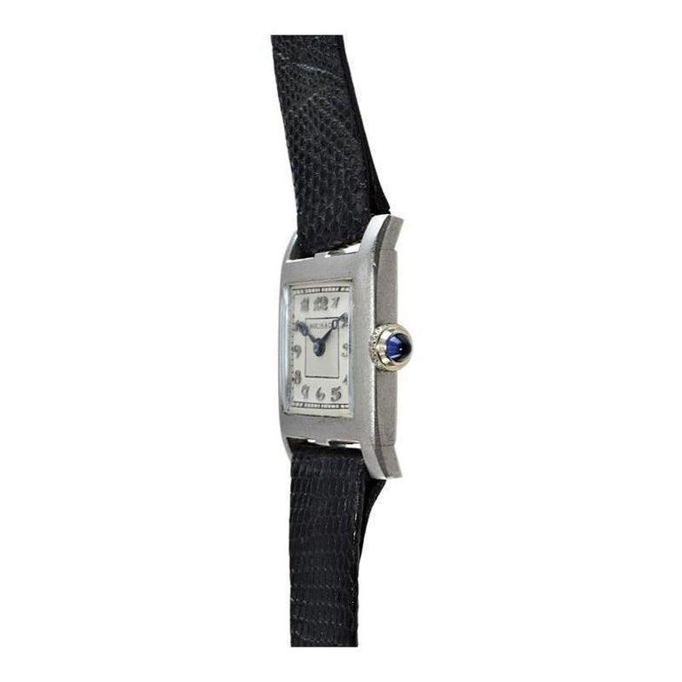Marcus & Co. Ladies Platinum Dress Style Watch circa 1930s Handmade For Sale 3