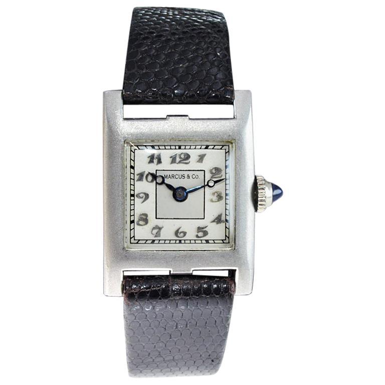 Marcus & Co. Ladies Platinum Dress Style Watch circa 1930s Handmade For Sale