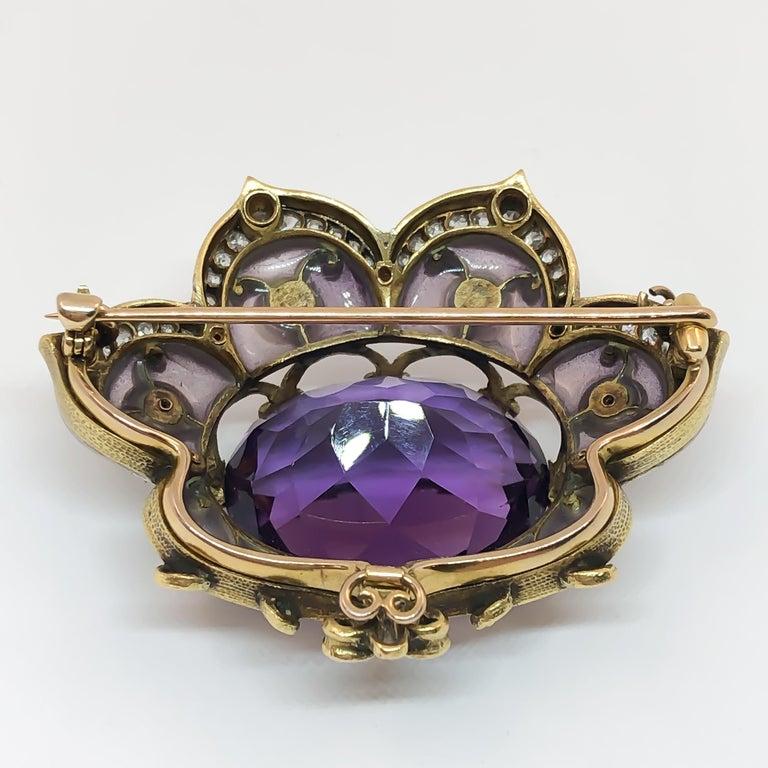 Oval Cut Marcus & Co. Plique-à-Jour Art Nouveau Amethyst and Pearl Brooch For Sale