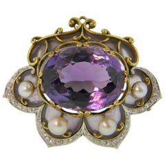 Marcus & Co. Plique-à-Jour Art Nouveau Amethyst and Pearl Brooch