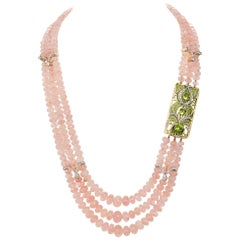 Marcus & Co. Plique a Jour Clasp Renewed with 860 Carat Morganite Triple Strand