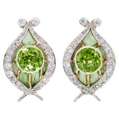 4.04 Carats Round Peridot and Diamond Plique a Jour Earrings in Platinum and 14K