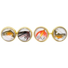 Marcus & Co. Victorian Painted Rock Crystal 14 Karat Gold Mens Fishing Cufflinks