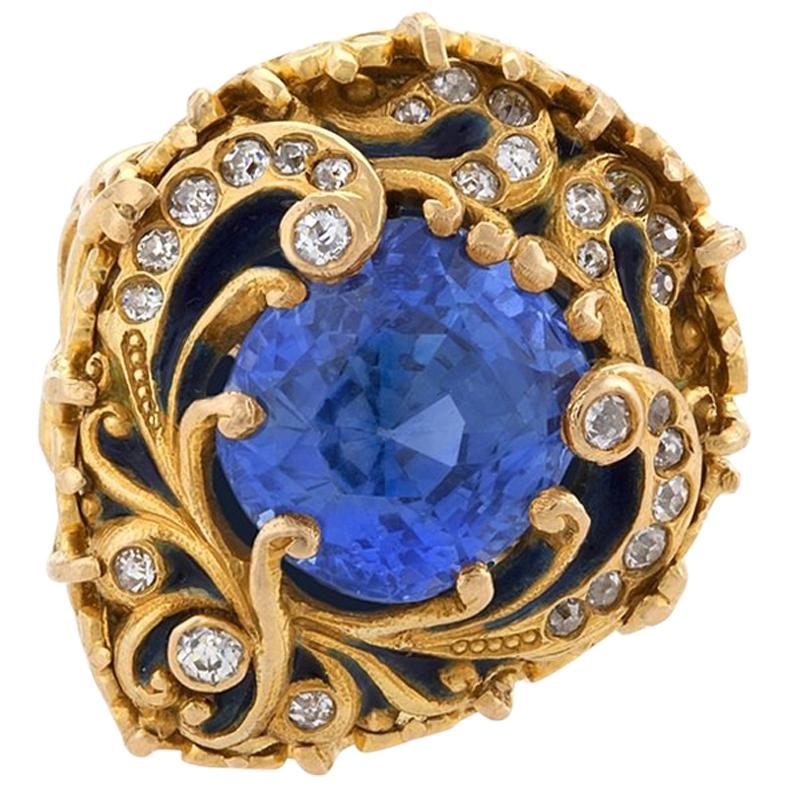 Marcus & Company Art Nouveau Sapphire, Diamond, Gold and Enamel Ring