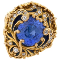 Marcus & Company Art Nouveau Sapphire, Diamond, Gold and Enamel Ring