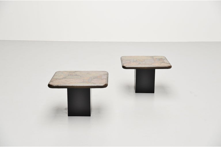 Very nice set of sofa tables designed and made by Marcus Kingma, Holland 1988. Marcus was the son of Paul Kingma who started making these kind tables in the 1960s. Marcus was of course inspired by his fathers work and started making tables on his