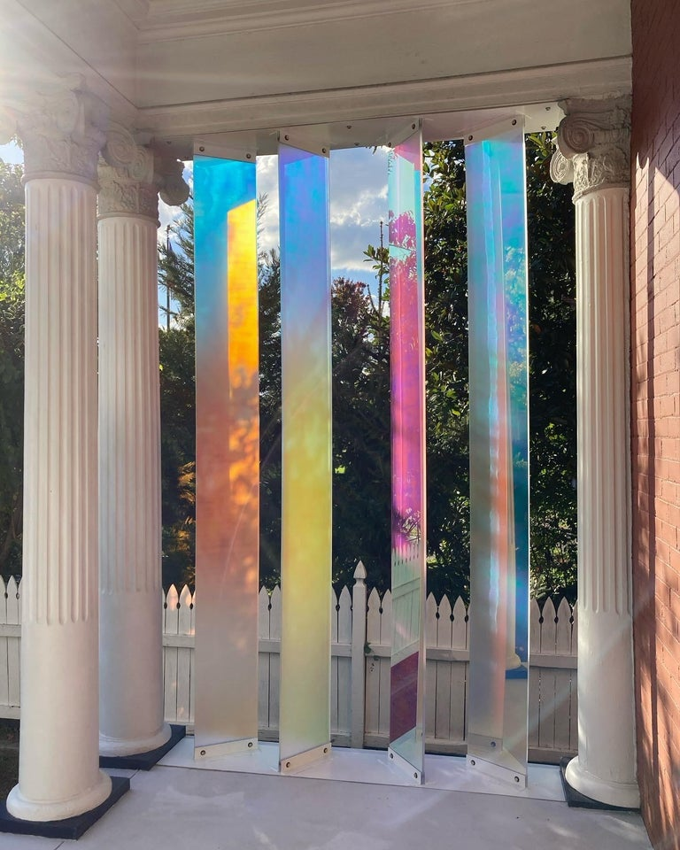 Light Support - a sculpture installation, polycarbonate acrylic and steel - Sculpture by Marcus Manganni