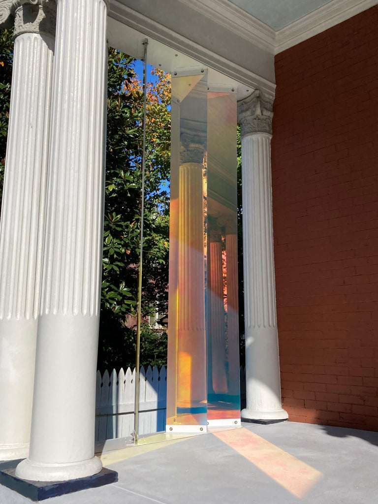 The artist works directly with the collector through the gallery to create commissioned based site specific installations such as Light Support listed here.  This ethereal installation titled Light Support, installed at a private residence, consists