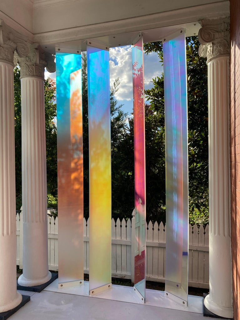 Light Support - a sculpture installation, polycarbonate acrylic and steel For Sale 1