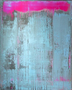 Behind the Curtain 2- Minimalism, abstract art, painting, contemporary art, pink