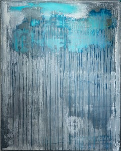 Behind the Curtain I -Minimalism, abstract art, painting, contemporary art, blue