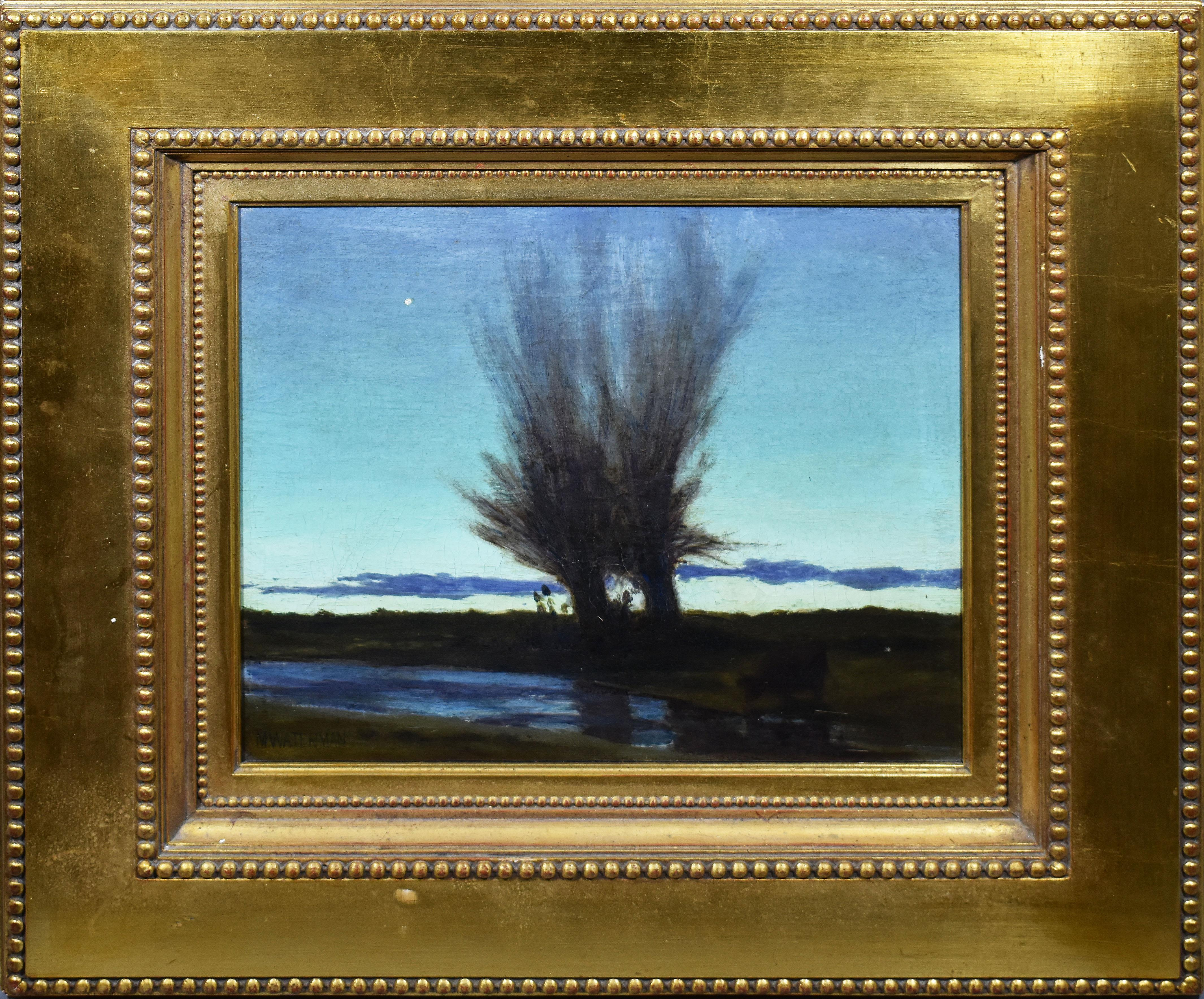 """Antique American """"After Glow"""" Tonalist Sunset Landscape Signed Rare Oil Painting"""