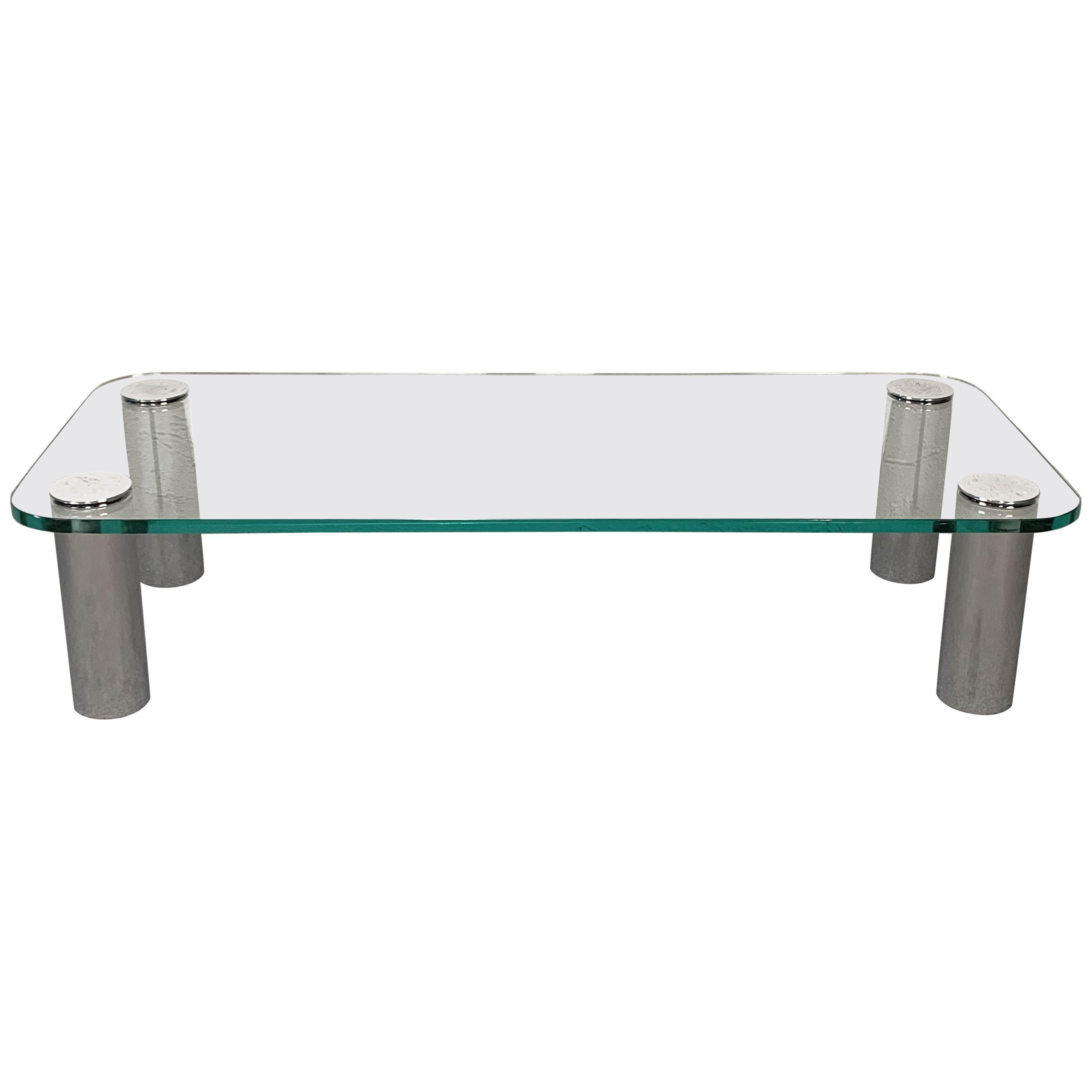"""Marcuso"" Coffee Table by Marco Zanuso for Zanotta Rectangular Glass Italy 1970s"