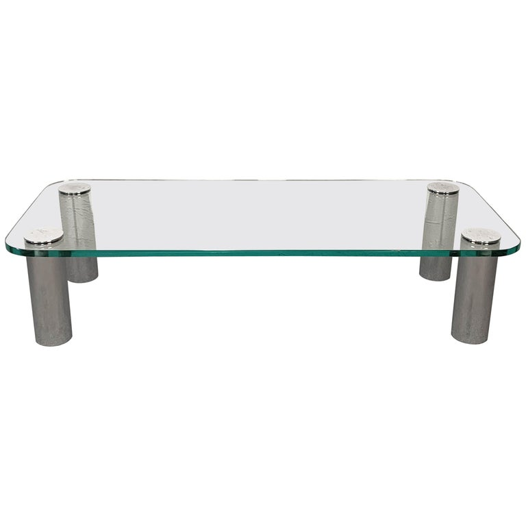 """""""Marcuso"""" Coffee Table by Marco Zanuso for Zanotta Rectangular Glass Italy 1970s For Sale"""