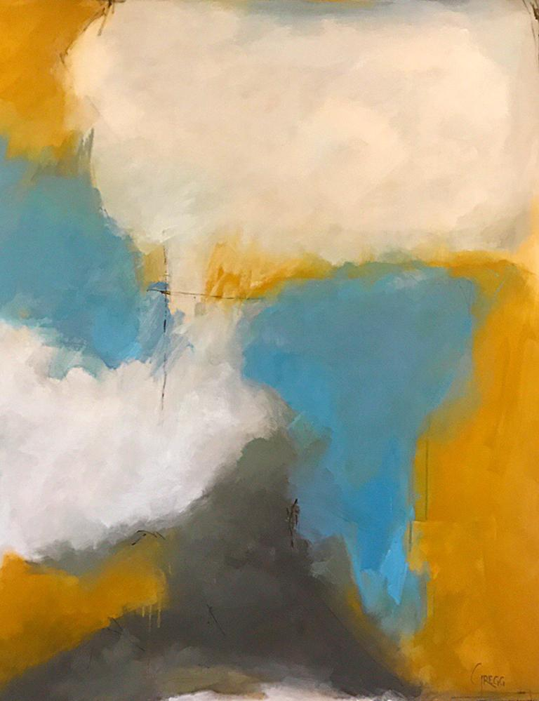 'Abundance' is a large abstract oil on canvas painting created by American artist Marcy Gregg in 2018. Featuring a palette made of white, blue, grey and ocher tones, the painting charms our eyes with its juxtaposition of soft and vivid colors.