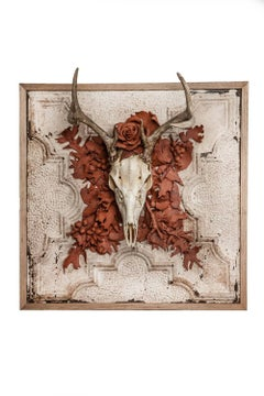"""""""Fall"""" sculpture by Marcy Lally, skull, handmade terracotta flowers"""