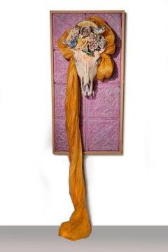 """Spring Equinox"" sculpture, skull, fabric, handmade porcelain flowers"