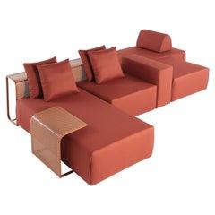 Mare Contemporary Modular Outdoor Sofa in Aluminum Upholstered Terracotta