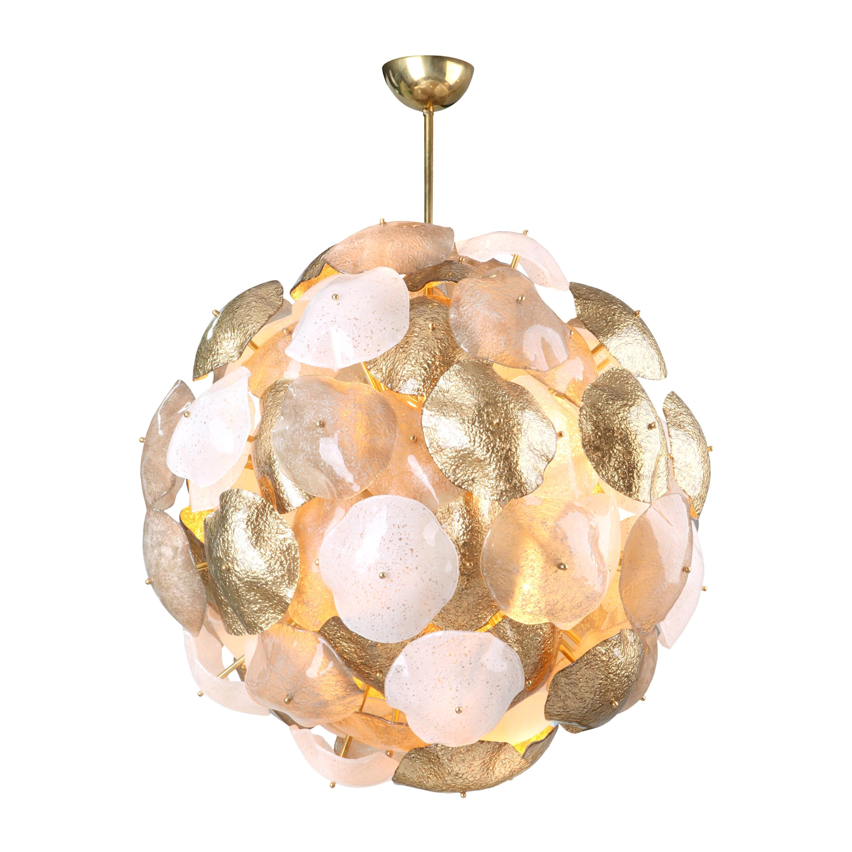 Mare Murano Glass Sputnik Chandelier with 24-Carat Gold Leaf