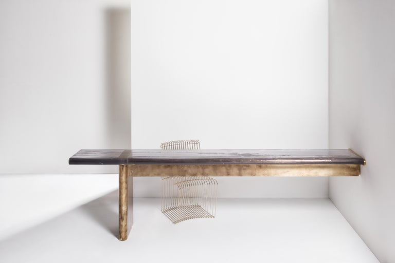 Maree console by Draga & Aurel Dimensions: W 300, D 54, H 76 cm Materials: Resin and solid brass   The console features one solid brass base and a resin cast top, designed to achieve a liquid-look surface; it is finished with brush strokes of more