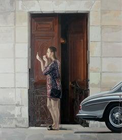 A lipstick - XXI century, Oil figurative painting, Realism, Architecture