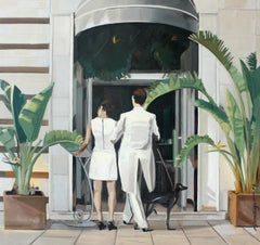 A pair - XXI century, Oil figurative painting, Realism, Earth tones, Dog