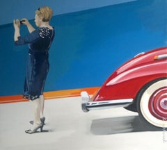 A picture - XXI century, Figurative realist oil painting, Blue Red Orange Beige